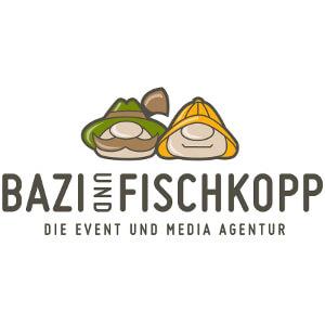 Logo voor event- en media-agenschap  'Bazi Fischkopp'