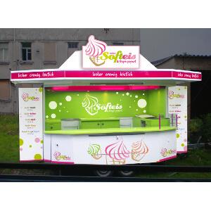 Ontwerp voor een verkoopstand van softijs en frozen yoghurt