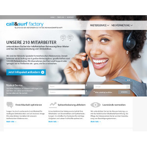 Web design voor 'Call and Surf GmbH'